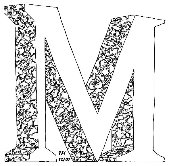 حرف M رسم قلب حب بالرموز
