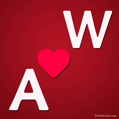 صور حرف a مع w , صور a و w رومانسية حب , خلفيات قلب جديدة 2016