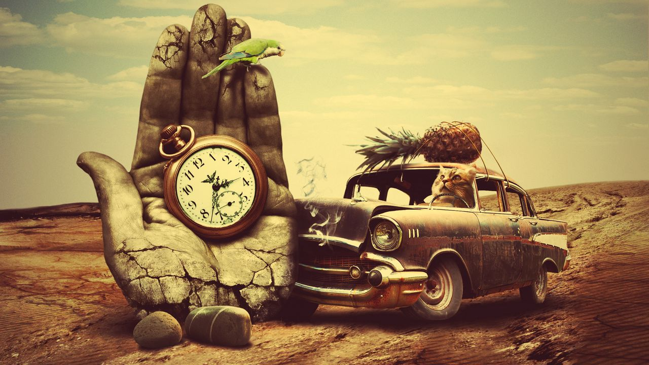 _surrealism_car_clock_pineapple_cat_96125_1280x720.jpg