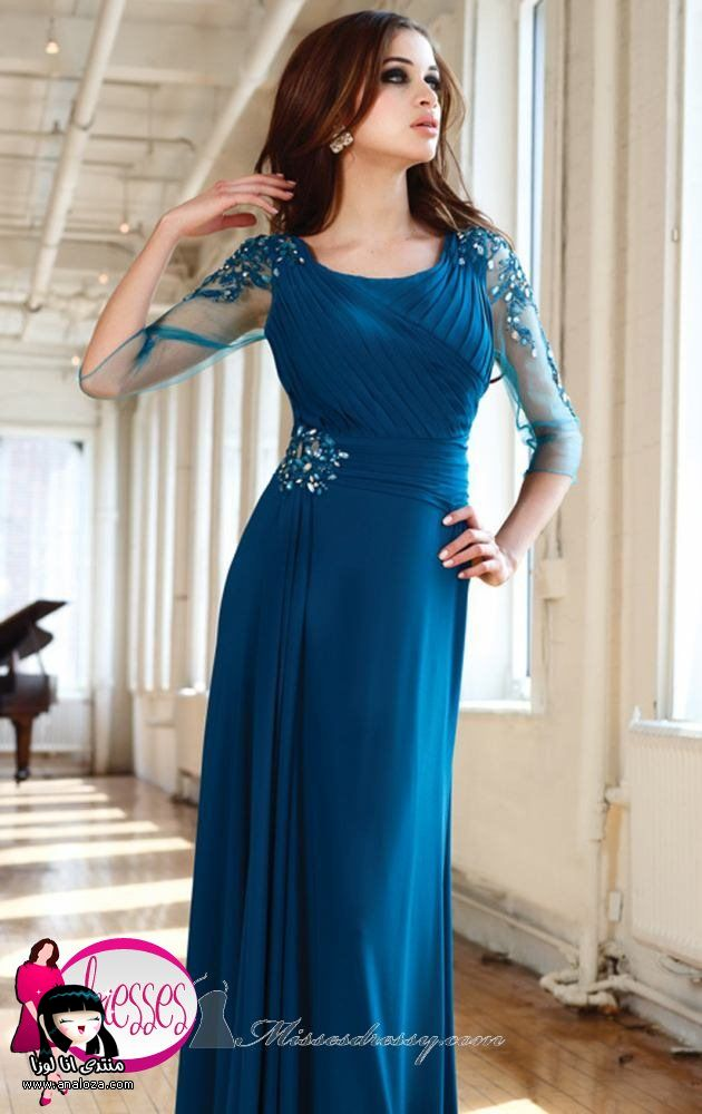 3/4 sleeve long formal dresses